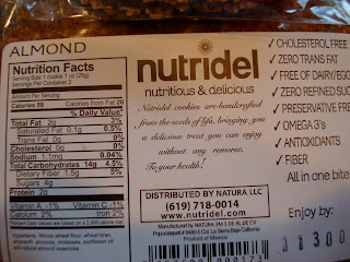 Nutritional Facts on back of Almond Cookie package