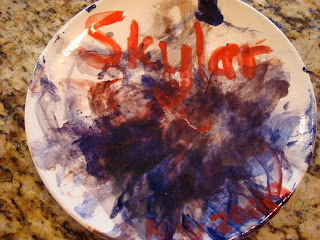 Painted plate made by child