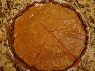 Whole Pumpkin Pie Cut