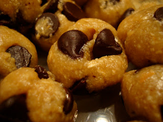 Close up of Raw Vegan Chocolate Chip Cookie Dough Balls