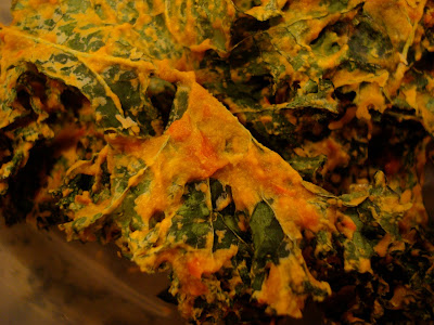 Close up of pile of Raw Vegan Kale Chips