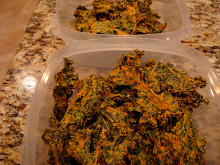 Clear containers full of Kale Chips