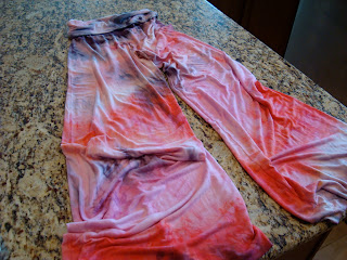 Tie-dyed pants on countertop
