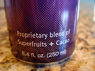 Bottom of Energy Drink saying Proprietary blends of Superfruits + Cacao