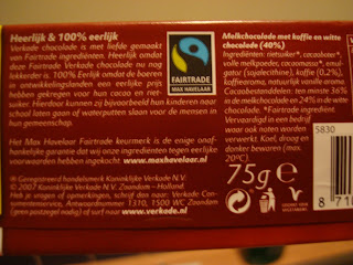 FairTrade symbol on back of chocolate bar