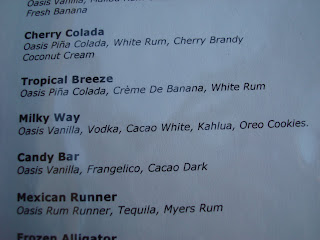 Mixed drink list with descriptions