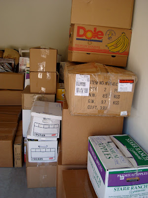 More stacked moving boxes