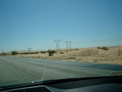 Dessert landscape with power lines