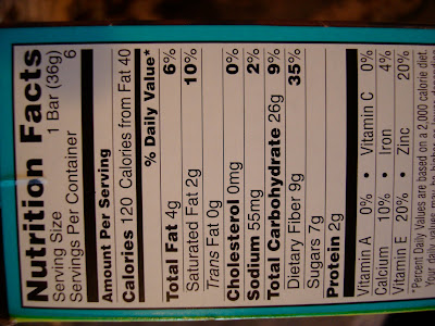 Nutritional Facts on Fiber Plus Bars