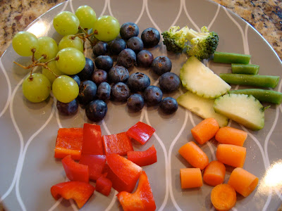 Mixed Fruits and Vegetables on plate