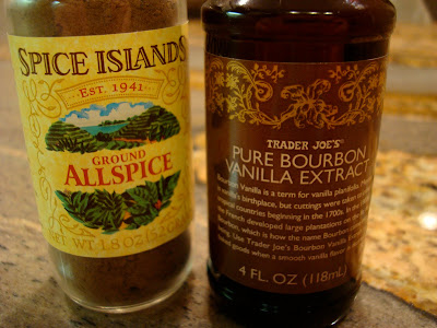 Ground Allspice and Pure Bourbon Vanilla Extract containers