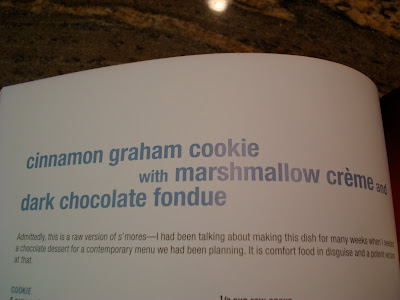 Recipe in book titled Cinnamon Graham Cookie with Marshmallow Creme and dark Chocolate Fondue