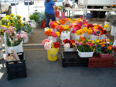 Fresh flowers in bins at Farmer's Market