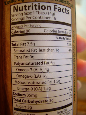 Nutrition Facts on Foods Alive Sweet & Sassy Flax Oil Dressing