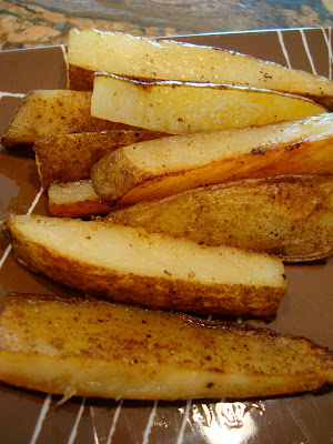 Coconut & Olive Oil Roasted Potato Sticks on plate