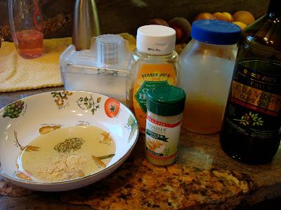Ingredients to make Green Tea and Honey Ginger Baked Tofu marinade