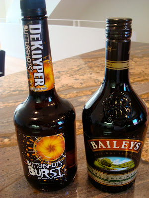 Bottles of Buttershots Burst and Bailey's