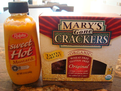 Sweet Hot Mustard next to Box of Mary's Gone Crackers