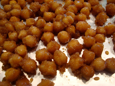 Close up of chickpeas on baking pan