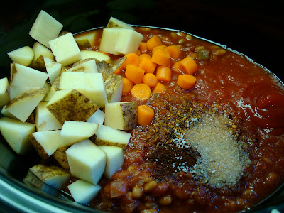 Hearty Vegan Southwestern Sweet & Spicy Soup ingredients in crock pot