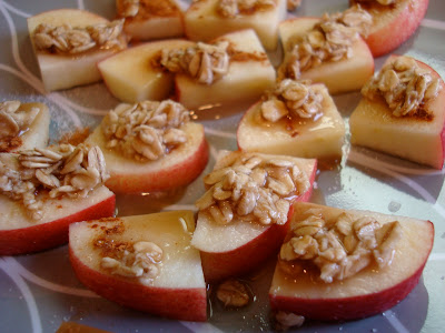 Close up of 1 Minute GF Vegan Apple Crumble topped apples