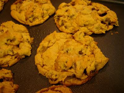 Close up of Vegan GF Peanut Butter Caramel Chocolate Chip Cookies