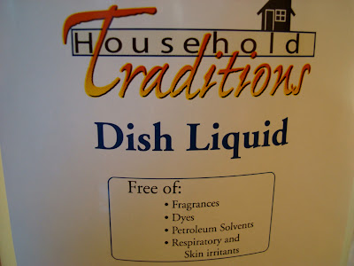Label on bottle of dish liquid