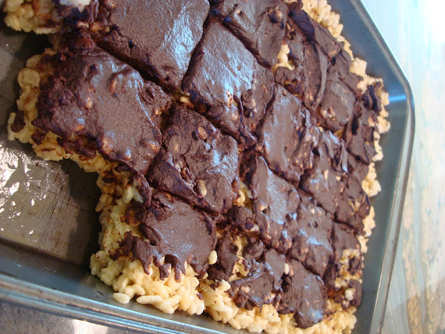 Rice Krispies Treats with Vegan Chocolate Frosting