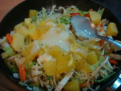Caribbean Citrus & Veggie Stir Fry topped with homemade Vegan Slaw