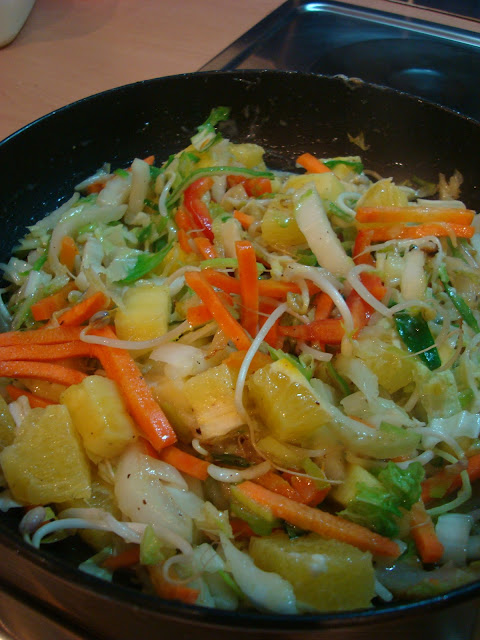 Caribbean Citrus & Veggie Stir Fry in pan