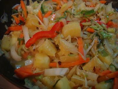 Finished Caribbean Citrus & Veggie Stir Fry in pan