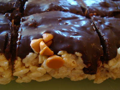 Butterscotch Chip Topped Rice Krispy Treats