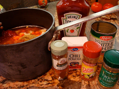 Ingredients for soup on countertop