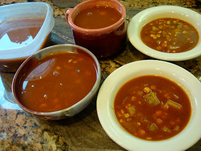 Spicy Vegetable, Corn, & Bean Soup separated into bowls
