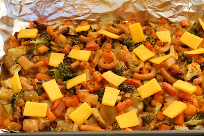 Cheese slices added to Cheezy Vegetable Bake