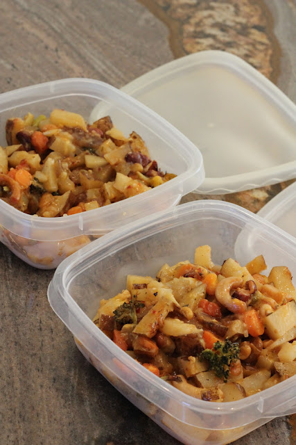 Leftover Cheezy Vegetable Bake in clear containers