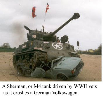 the o dot veterans allowed to drive tank over german or japanese cars during remembrance day. Black Bedroom Furniture Sets. Home Design Ideas