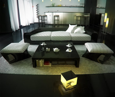 Table  Living Room on Modern Living Room With  Black Wood Table Sofa  Set And Beige Carpet