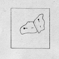 drawing of two scraps pinned to a foundation square