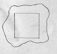 drawing of a scrap of fabric and a square of paper