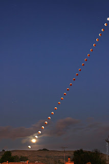 Lunar eclipse time lapse photo taken over Hayward, California.
