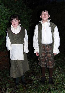Ellie and Tom in Tudor costumes