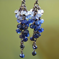 earrings,jewelry,sapphire,saphire,blue,cobalt,fade,sterling silver, silver,beadyize