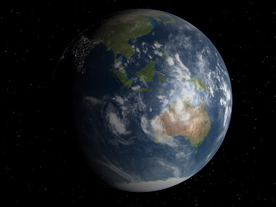 A view of Earth from far out in space. Source: Celestia