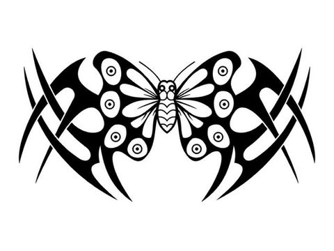 Buterfly Tatto on Sort Sorts Tattoo  Tribal Butterfly Tattoo Design
