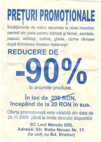 Preţuri promoţionale încălţăminte