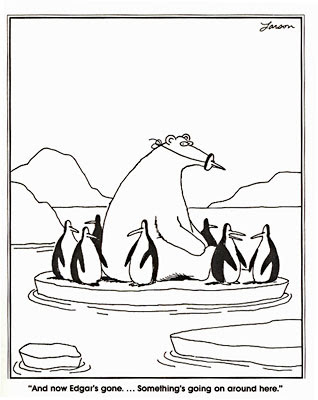 Polar bear and penguins