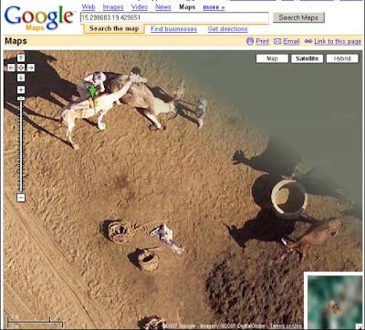 satellite photos on Google Maps showing camels in the middle of Africa.