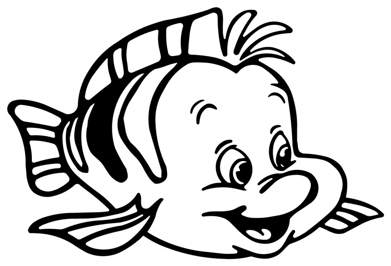 The Little Mermaid Coloring Pages Ariel And Flounder : Litle mermaid flounder fish animal coloring