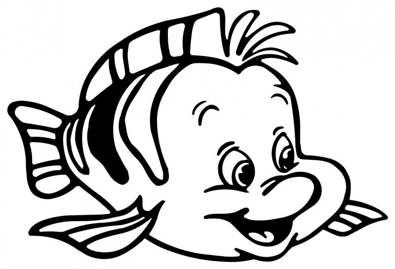 Litle Mermaid Flounder Fish Animal Coloring title=